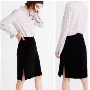 Madewell Black Velvet Side Slit Pencil Skirt